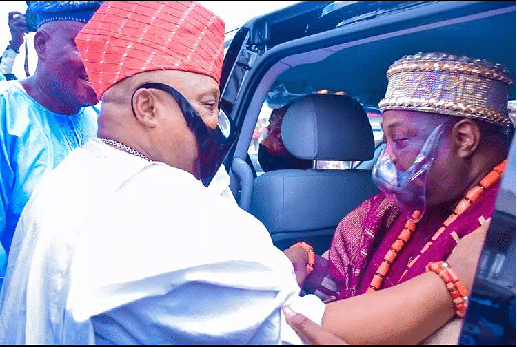 Deji Adeleke at the installation ceremony of Chief Dele and Chief Mrs Mobolaji Momodu