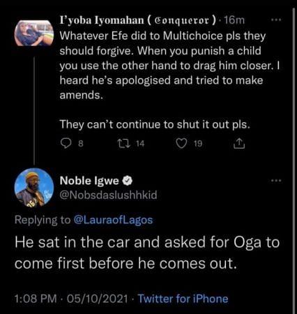 Noble Igwe's tweet