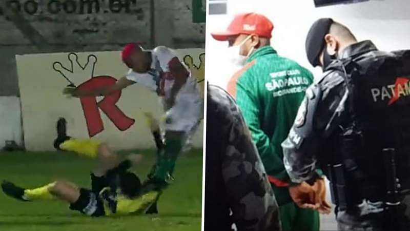Brazilian footballer who kicked referee in the neck charged with attempted murder