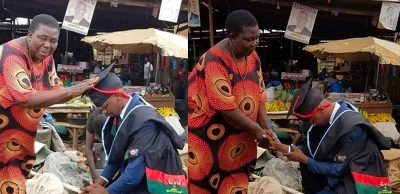 PHOTOS: Graduate abandoned as a child kneels at marketplace to thank grandma for raising him