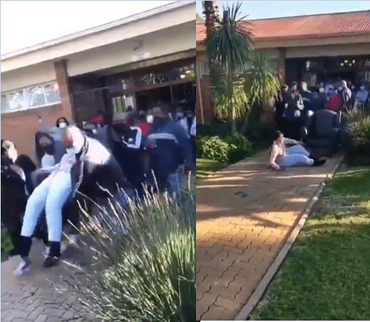 VIDEO: Angry parents bundle headteacher out of school over alleged financial mismanagement
