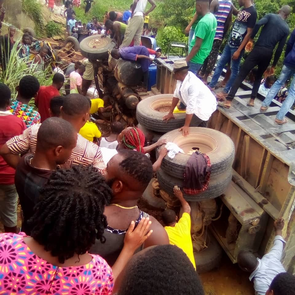 PHOTOS: Truck crushes 10 women in Imo market