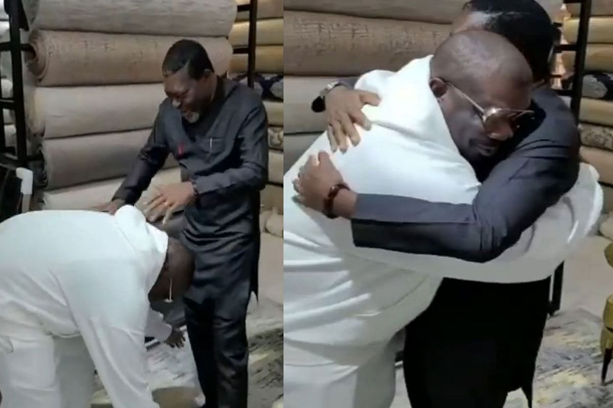 VIDEO: Don Jazzy prostrates on seeing Nollywood legend Kanayo O. Kanayo for the first time