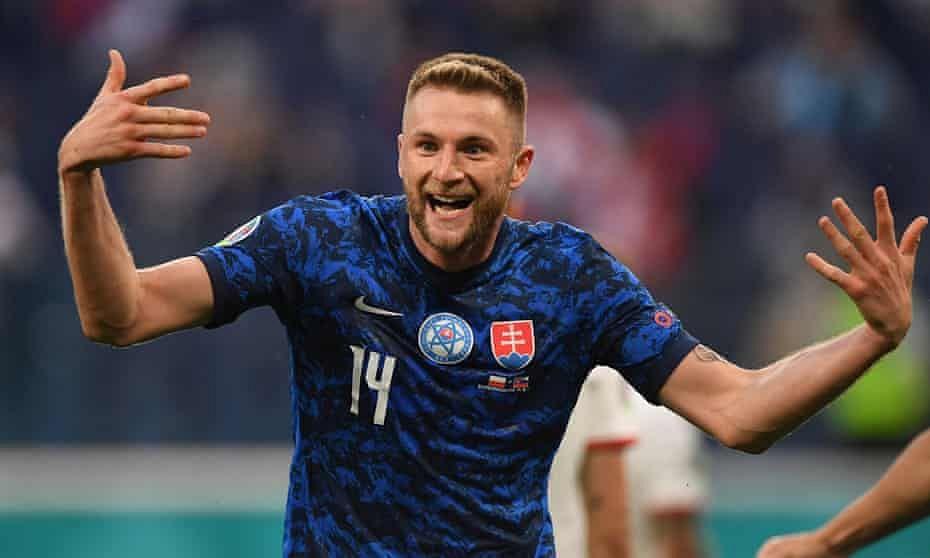 Milan Skriniar seals 2-1 win for Slovakia over 10-man Poland