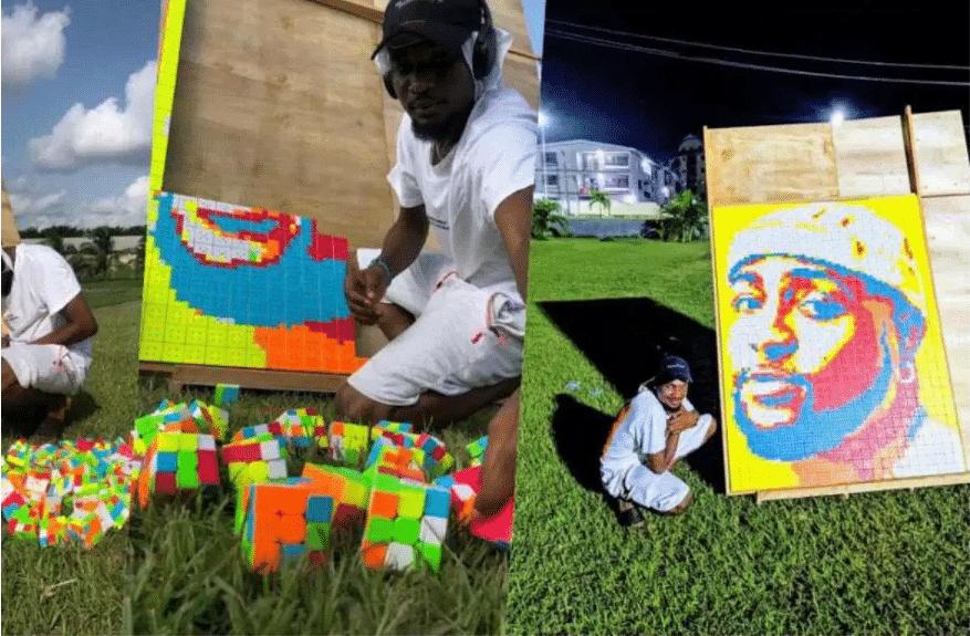 Artist creates fantastic portrait of Davido with 800 pieces of Rubik's cubes