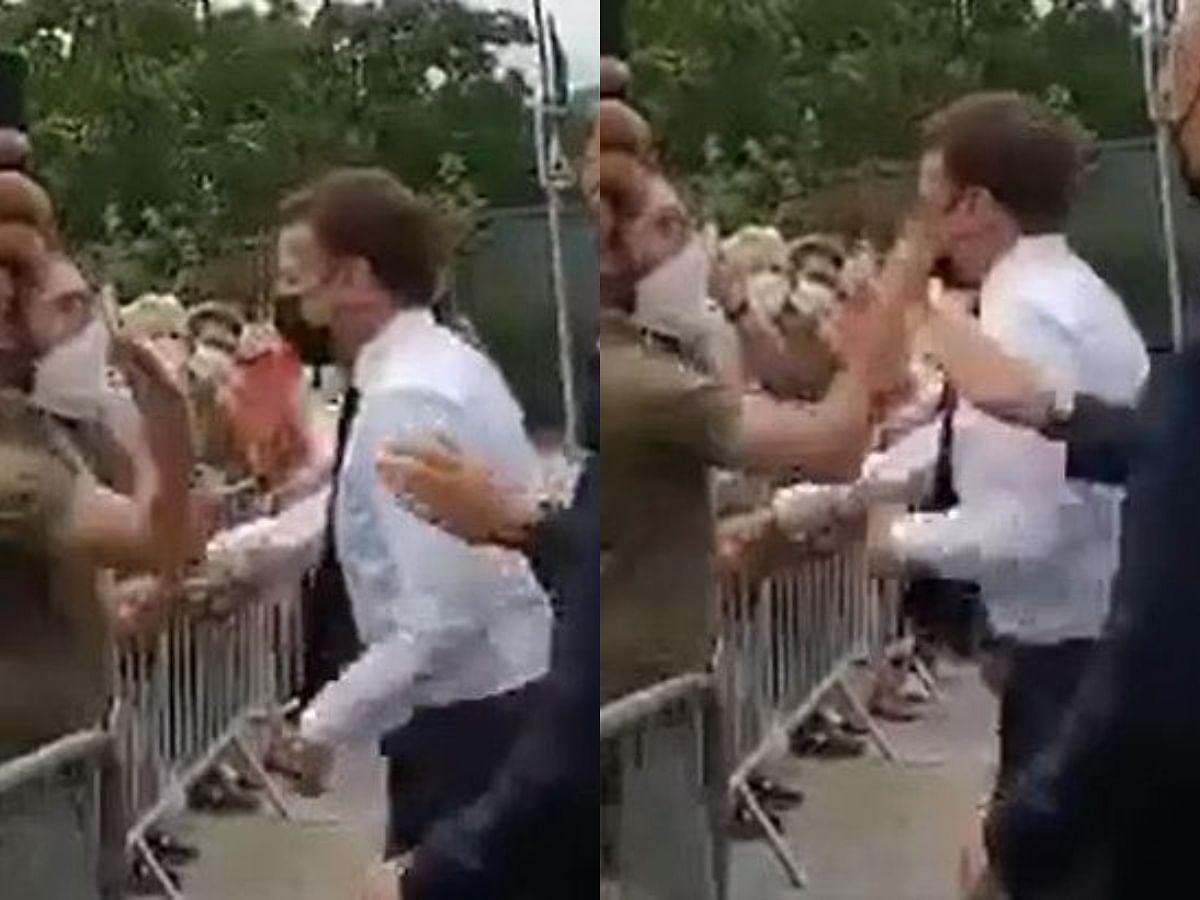 VIDEO: Man slaps President of France during trip to South