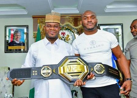 PHOTOS: Nigerian UFC Star, Kamaru Usman, meets Governor Yahaya Bello