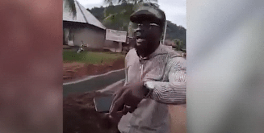 VIDEO: Angry indigene calls out road contractor over substandard road project in Edo
