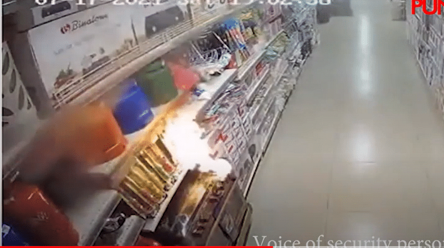 VIDEO: CCTV footage of nine-year-old suspect setting Prince Ebeano supermarket in Abuja on fire