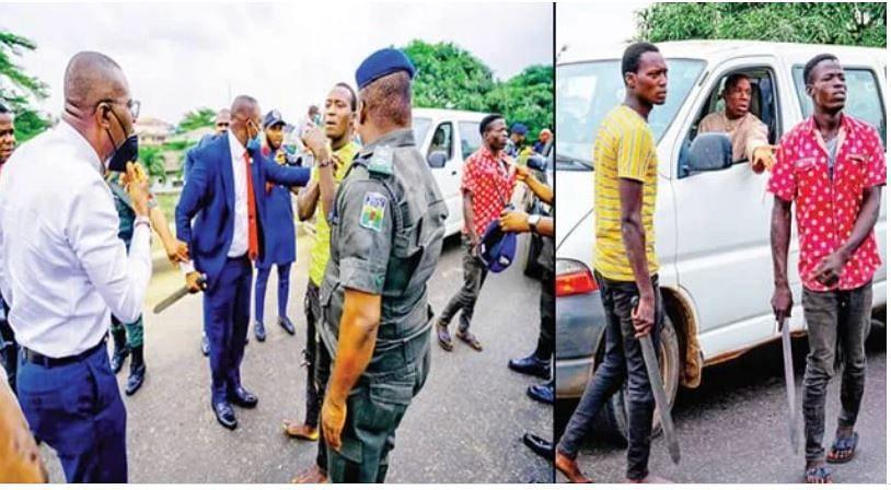 PHOTOS: Sanwo-Olu's convoy nabs three hoodlums operating in Lagos traffic