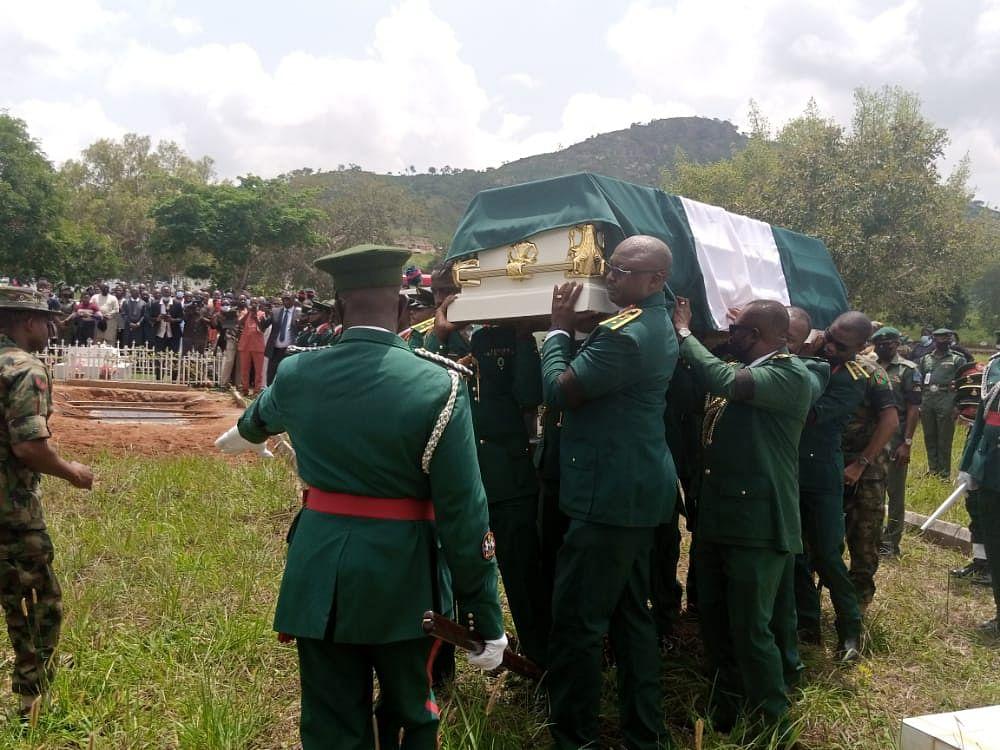 PHOTO: Army commander killed by land mine during raid on Boko Haram buried amid tears