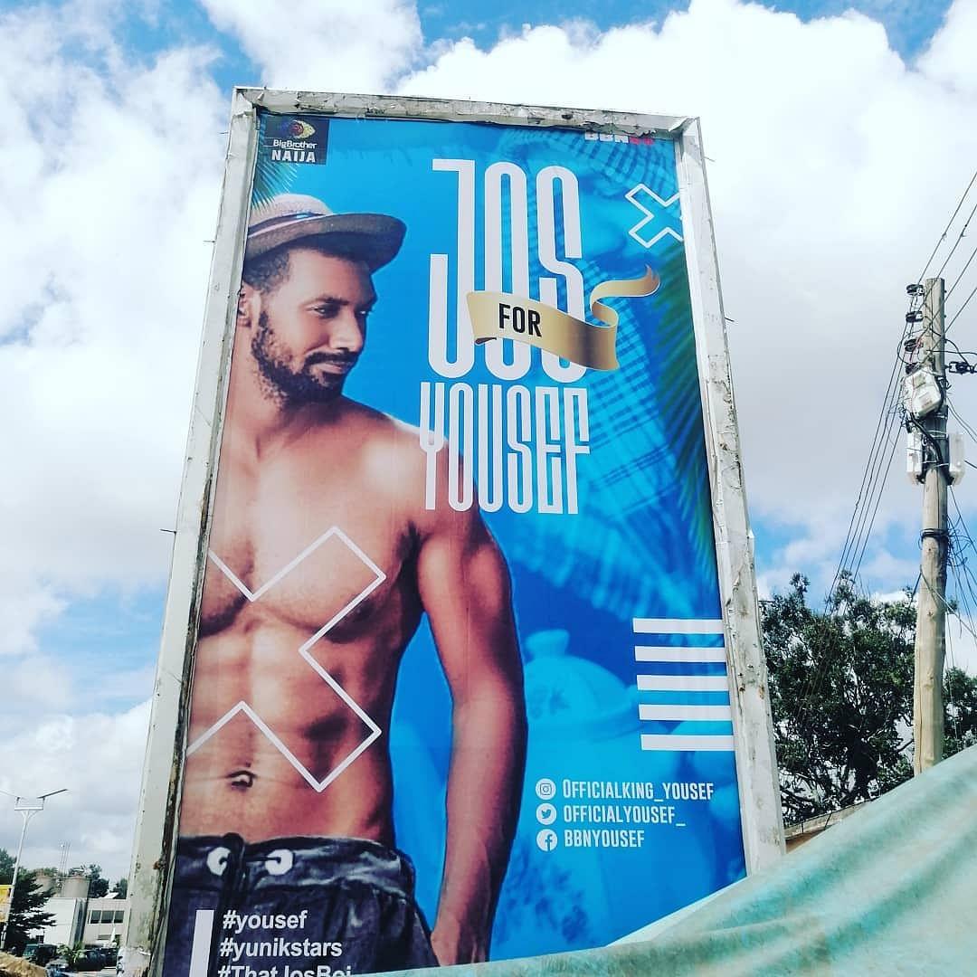 BBNaija: Jos fans drum support for Yousef, erect massive billboard