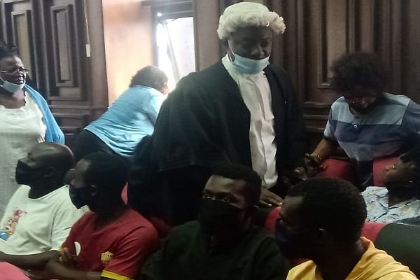 PHOTOS: DSS brings detained Sunday Igboho's associates to court