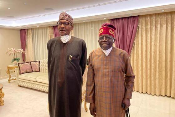 PHOTOS: Buhari pays surprise visit to Tinubu in London