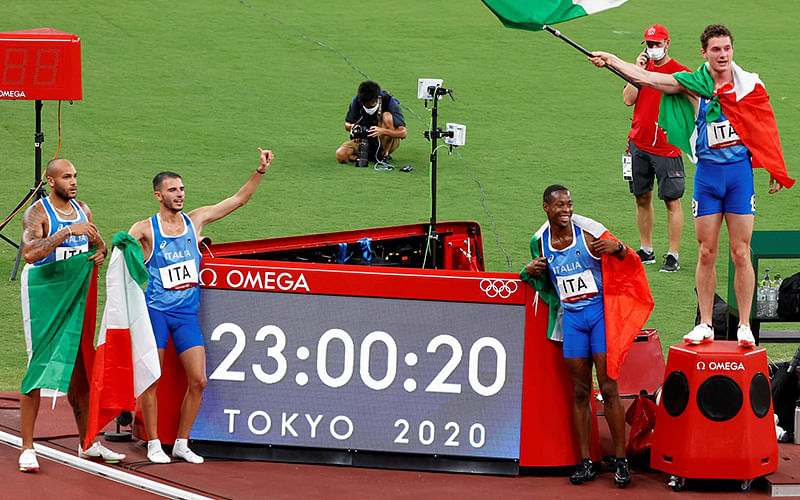 Italy win first-ever Olympic men's 4×100 metres relay title