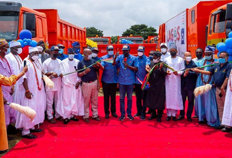 Sanwo-Olu unveils 102 locally assembled waste trucks