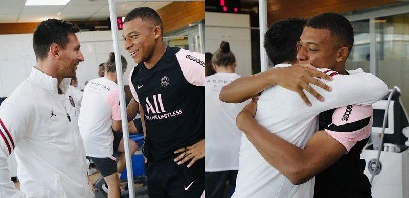 PHOTO: Emotional moment as Messi meets Mbappe in first PSG training