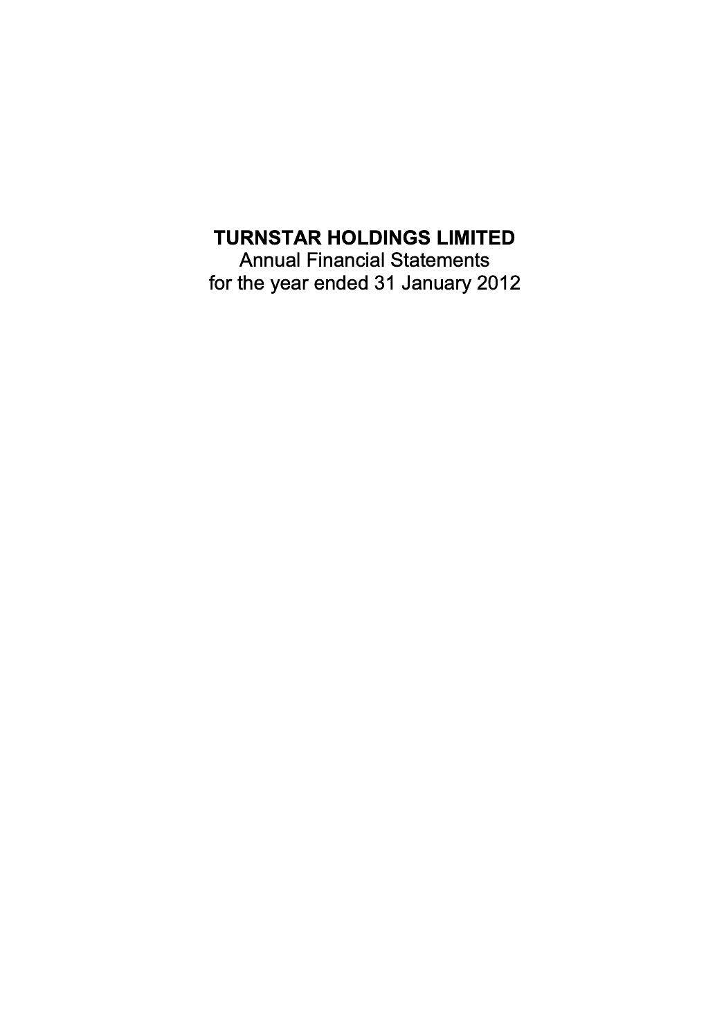 Turnstar Annual Report 2012 cover