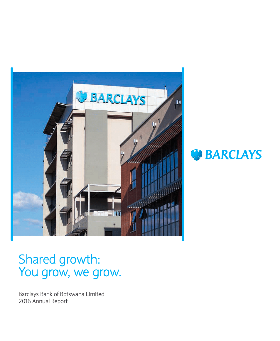 Barclays Bank of Botswana Annual Report 2016 cover