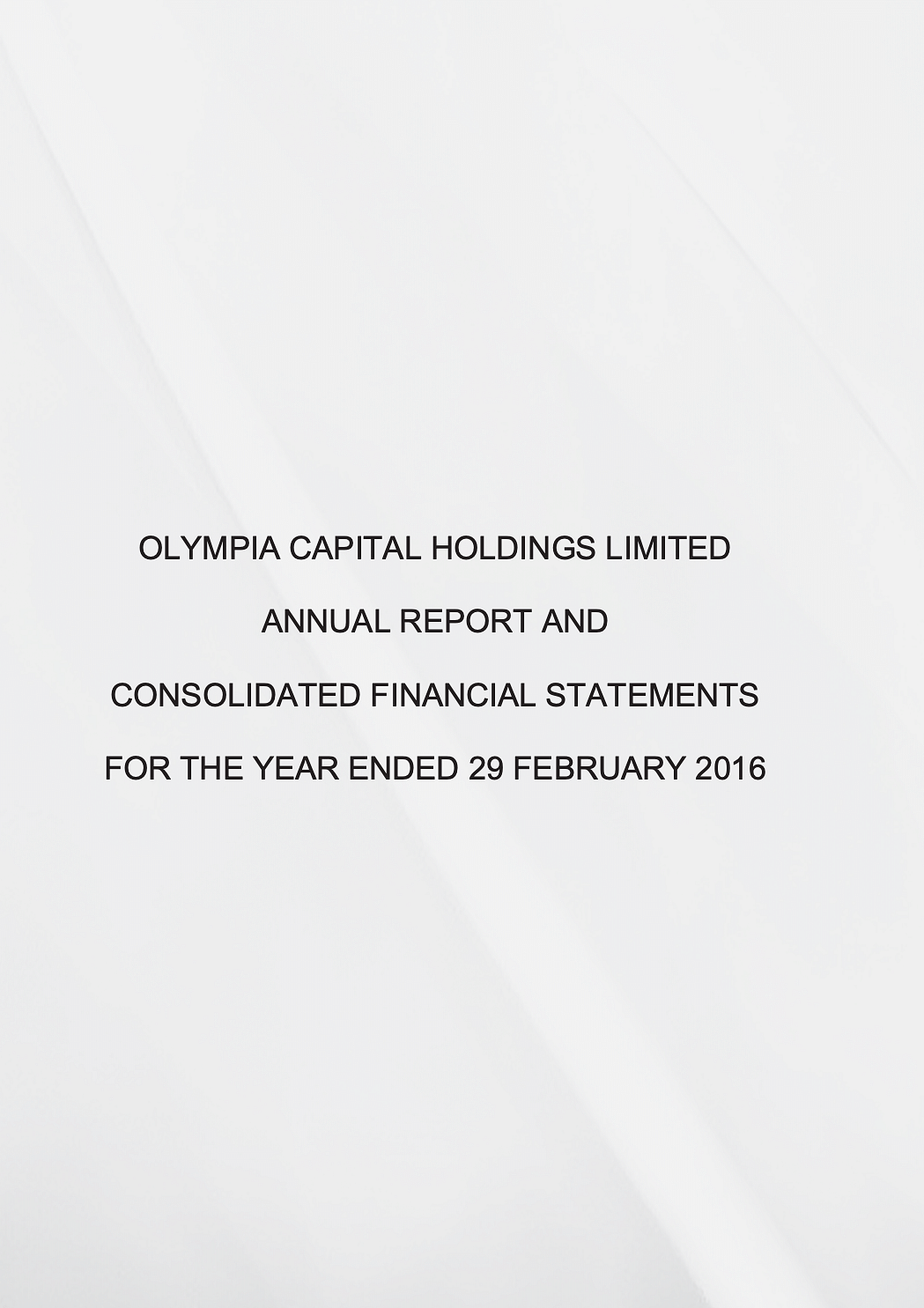 Olympia Capital Annual Report 2016 cover