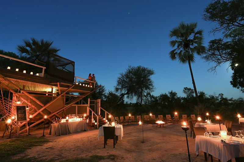 Dinner at the elephant boma
