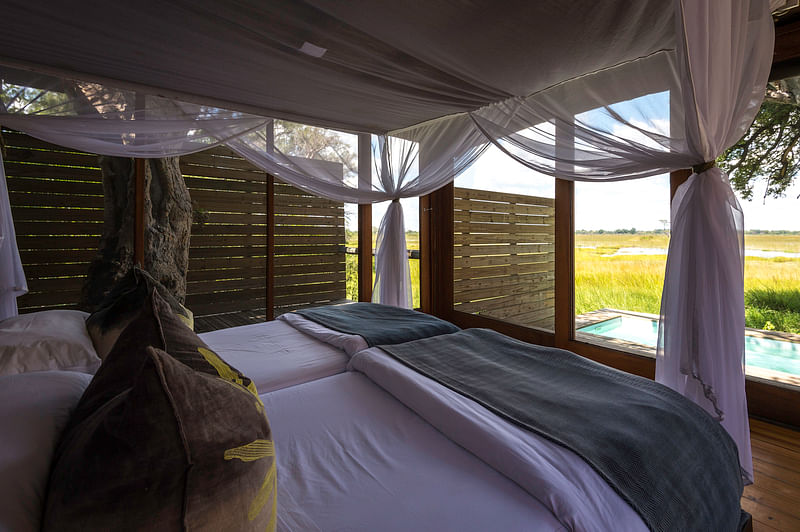 Twin bedded family tent and view