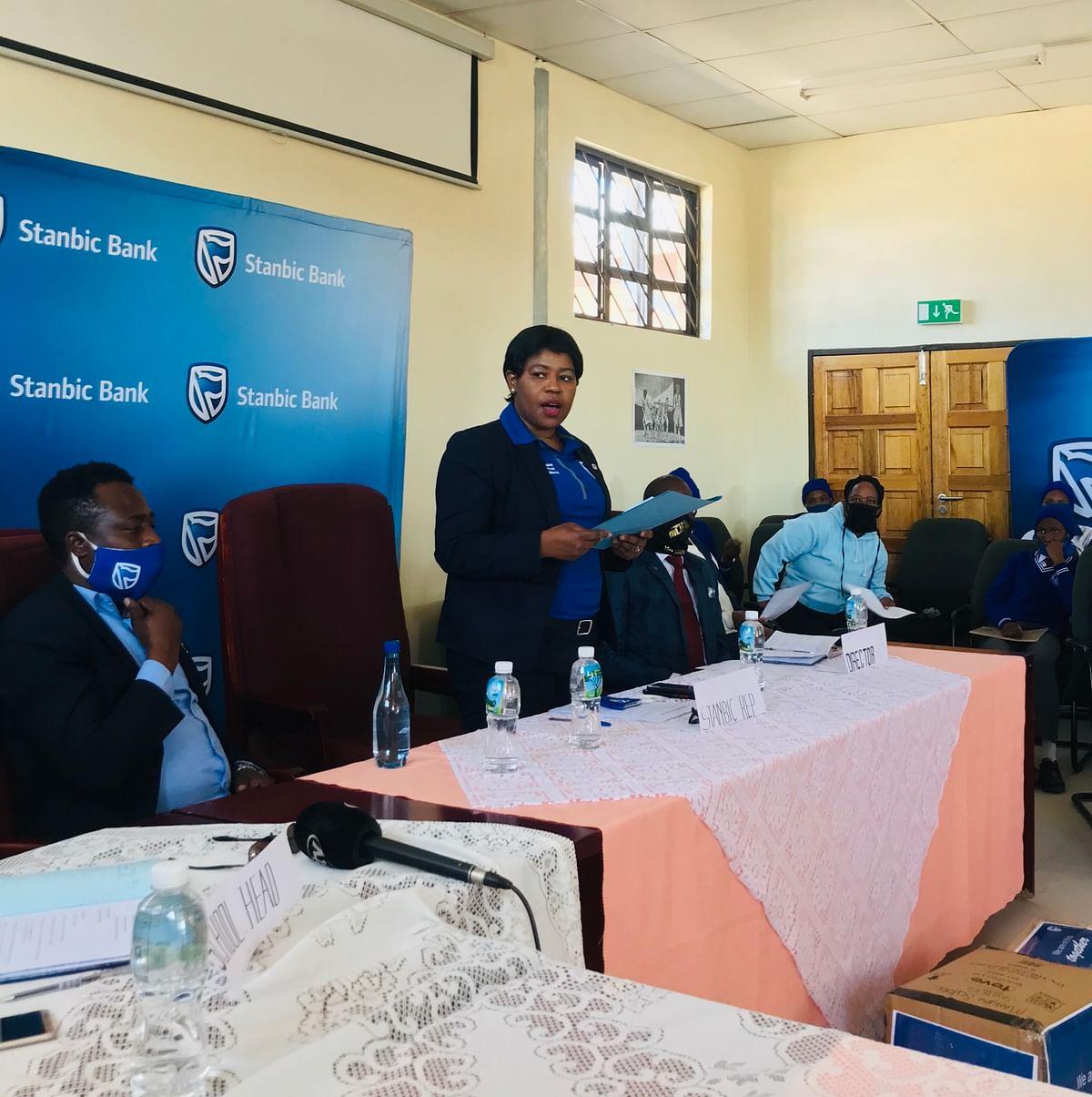 Stanbic Bank Botswana Communications Manager, Ms. Ruth Lorato Sibanda, sharing remarks on behalf of the bank.