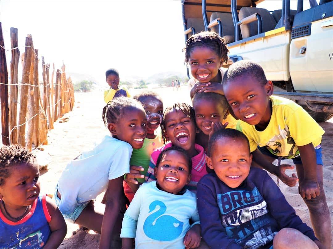 Delighted school children