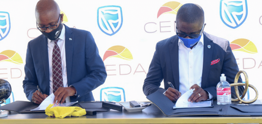 L to R: CEDA Chief Executive Officer, Mr. Thabo Thamane and Stanbic Bank Botswana Chief Executive, Mr. Samuel Minta