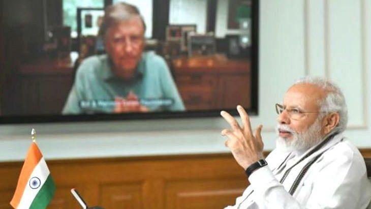 pm modi and bill gates on video conference