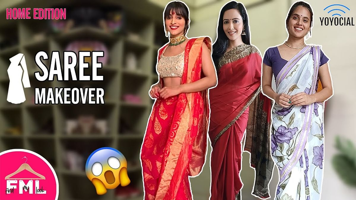 DIY Saree Outfit Idea | Makeover Challenge by Garima Goel | FML