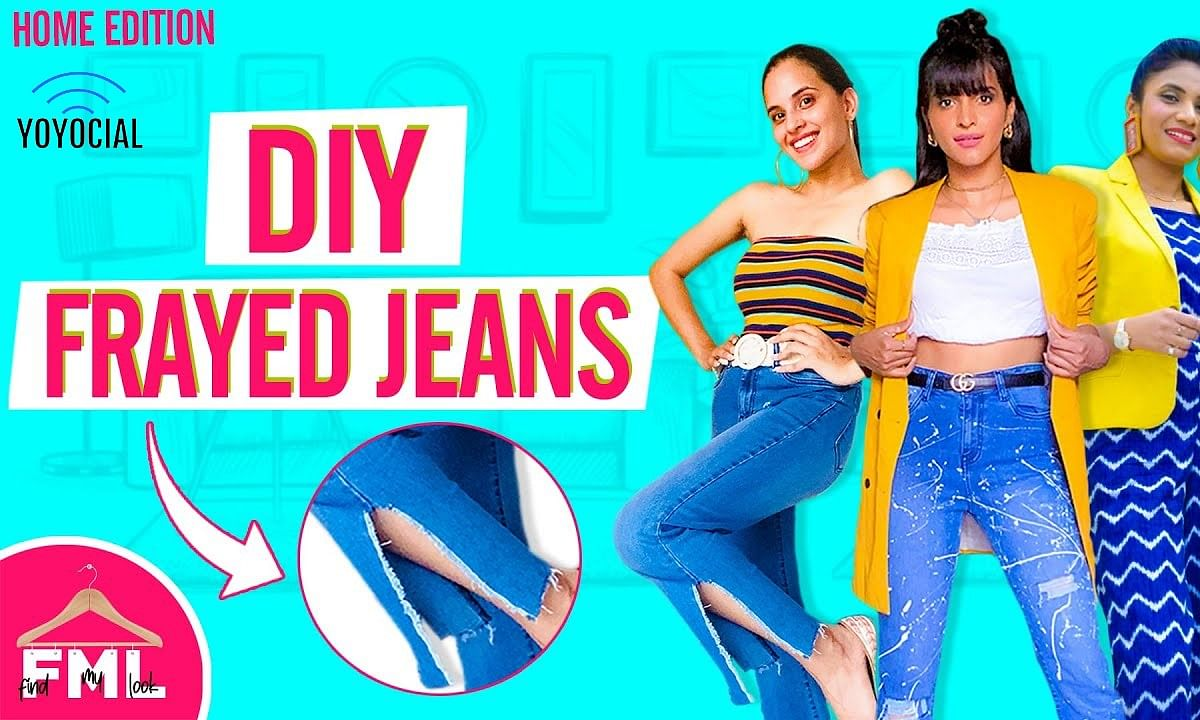 LIT| DIY Frayed Jeans Makeover Challenge ft. | Recreating Sherry Shroff's Look