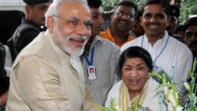 pm modi and lata mageshkar