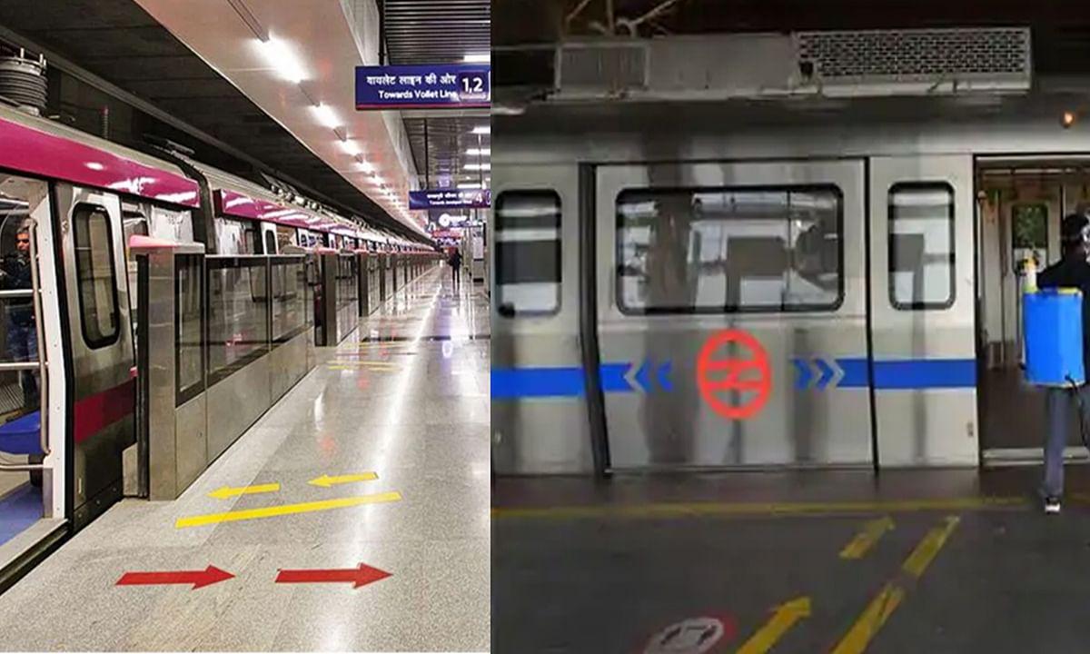 दिल्ली: 171 दिनों बाद बुधवार से ब्लू और पिंक लाइनों पर दौड़ी मेट्रो