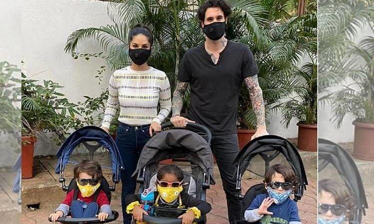 पति, बच्चों संग बाहर घूमने निकलीं सनी लियोनी