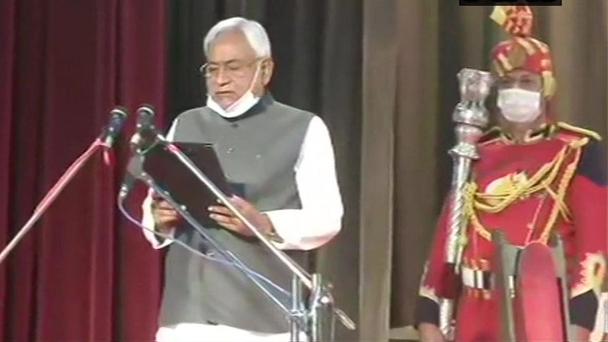 Nitish Kumar taking Oath