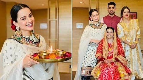 कंगना रनौत ने दिवाली पर 'देवी' का घर में किया स्वागत