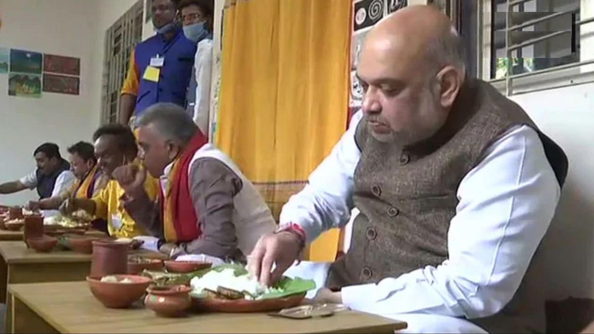 अमित शाह का बंगाल दौरा : बीरभूम में टैगोर को दी श्रद्धांजलि