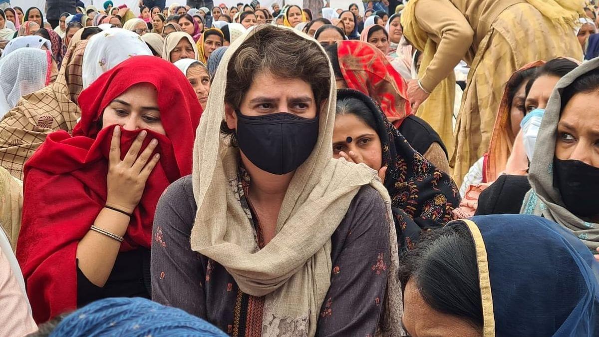 उत्तर प्रदेश: किसान आंदोलन में शहीद नवरीत सिंह के अंतिम अरदास में पहुँची प्रियंका गांधी