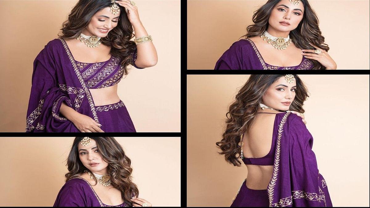 हिना खान ने लहंगा पहन लूट ली महफिल, पर्पल ड्रेस में दिख रहीं है बेहद खूबसूरत, हर एक तस्वीर पर दिल हार बैठे फैंस..
