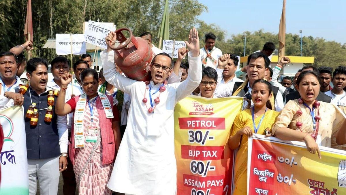 कांग्रेस ने कहा, टैक्स के नाम पर भाजपा लूट रही है, पूरे असम में विरोध प्रदर्शन