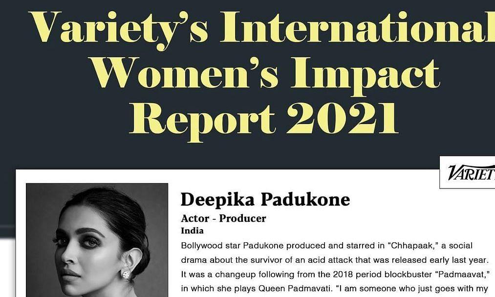 वैराइटी इंटरनेशनल वीमेन इम्पैक्ट रिपोर्ट 2021 में दीपिका एकमात्र भारतीय