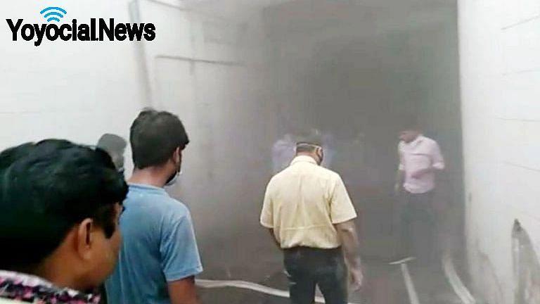 लखनऊ: लोहिया संस्थान के एसी प्लांट में लगी आग की सूचना मिलने पर मौके पर पहुंची पुलिस